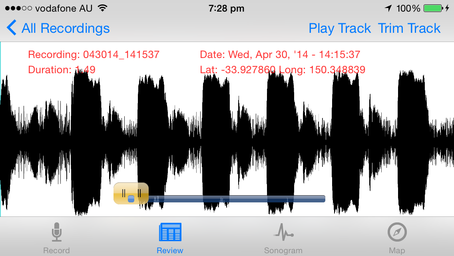 Sonocord - Audio sonogram app for iOS / iPhone from Sinusoid  Mapview